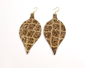 Gold Glitter Christmas Ornament Earrings