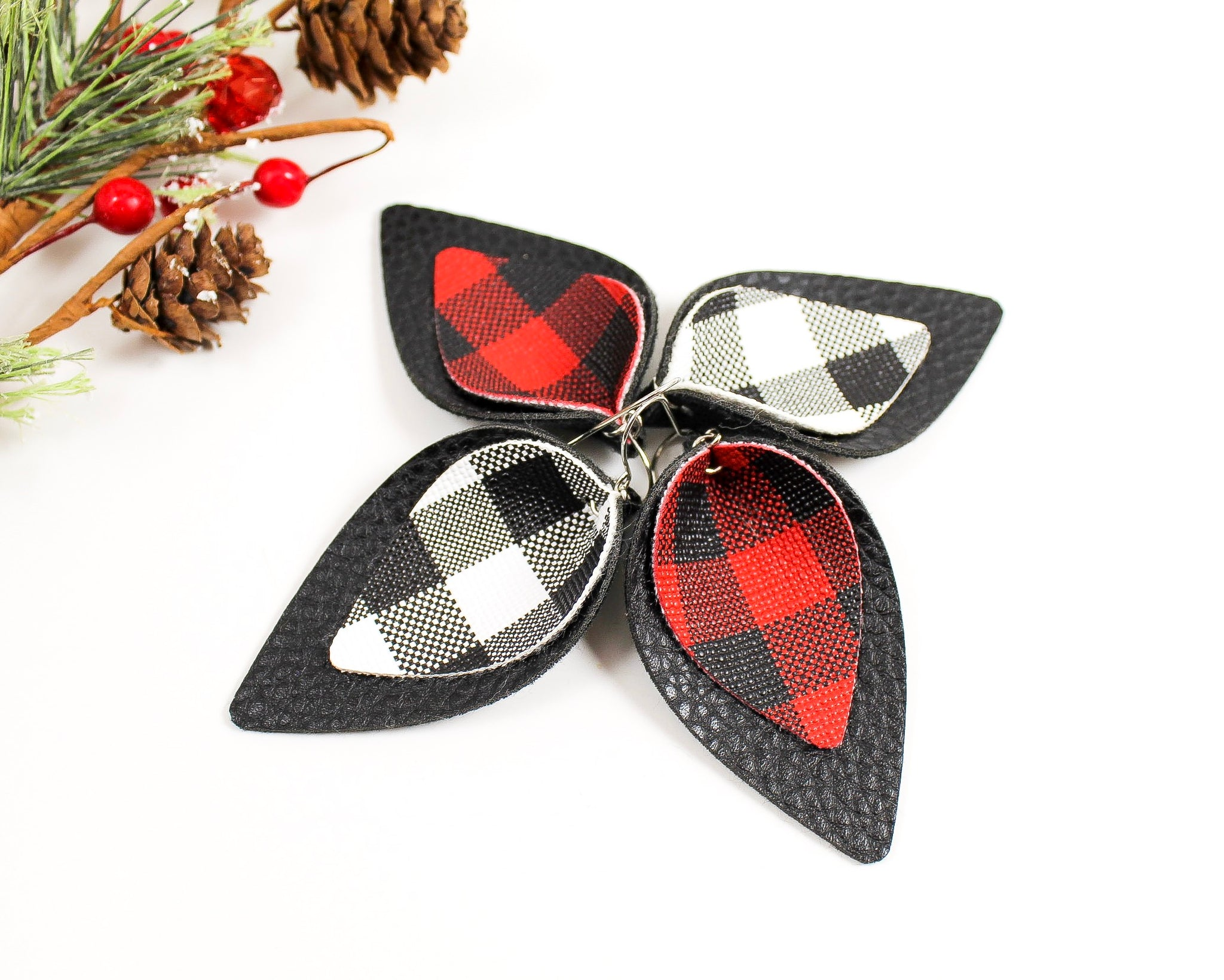 Red and Black Plaid Petal Earrings