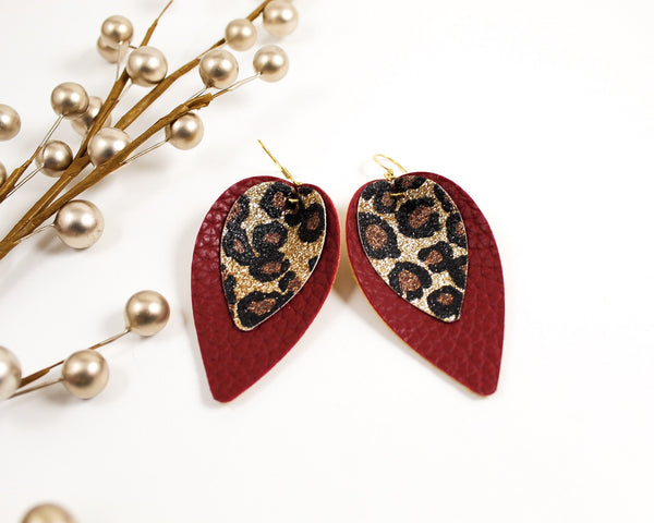 Leopard and Burgundy Red Petal Earrings
