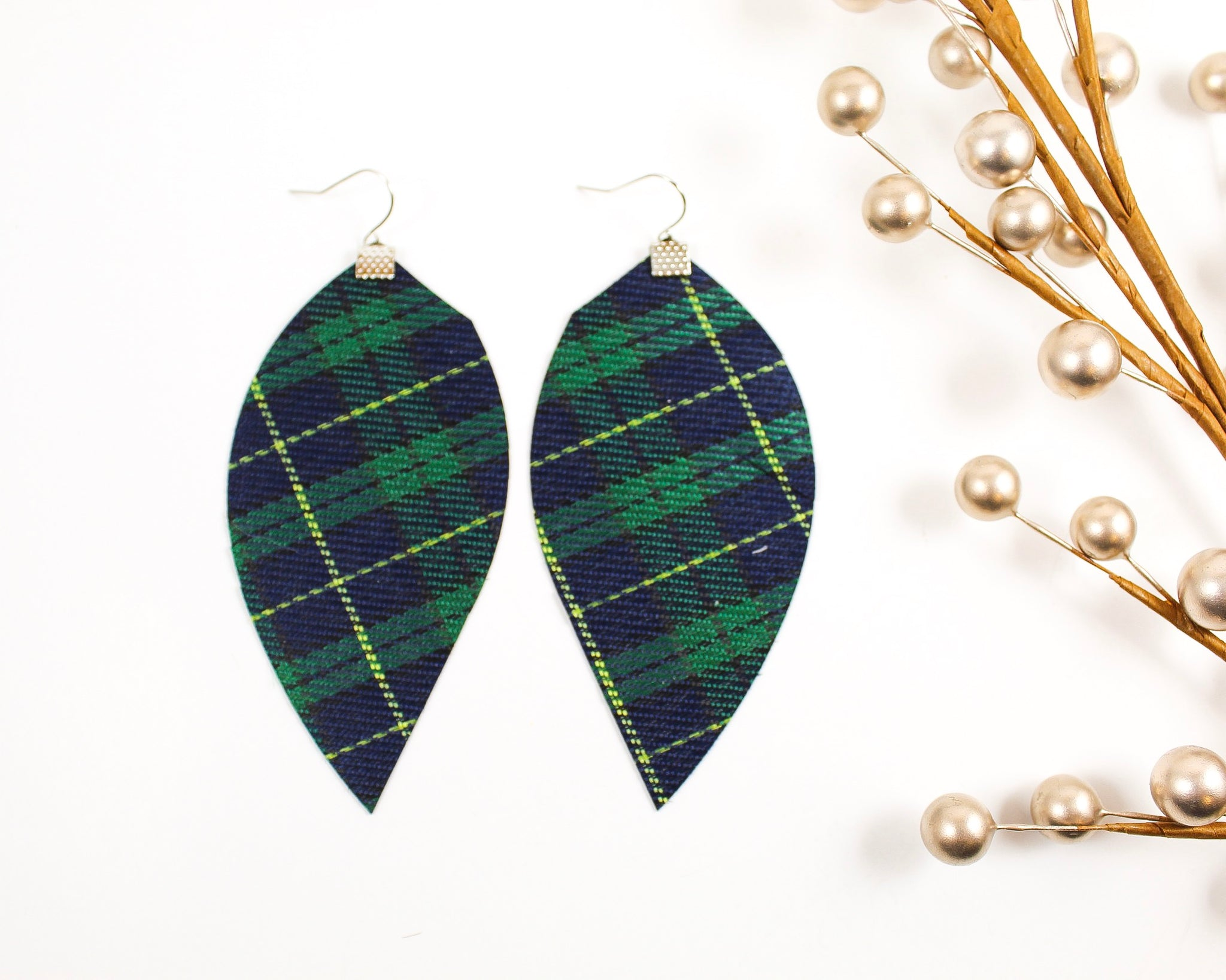 Navy Blue & Green Plaid Fringe Feather Earrings