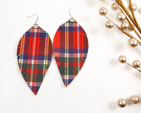Red Christmas Plaid Fringe Feather Earrings