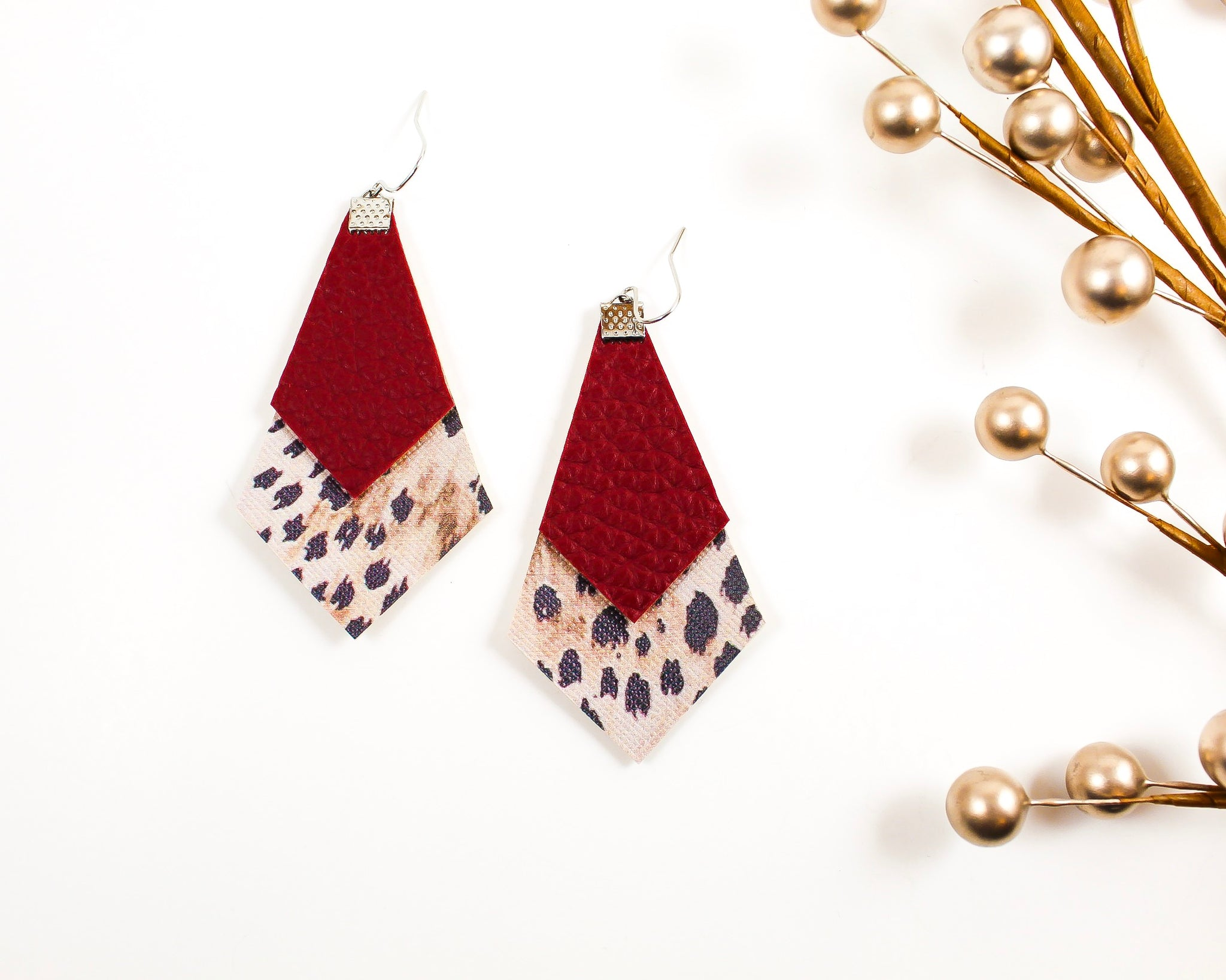 Burgundy & Cheetah Print Long Diamond Earrings