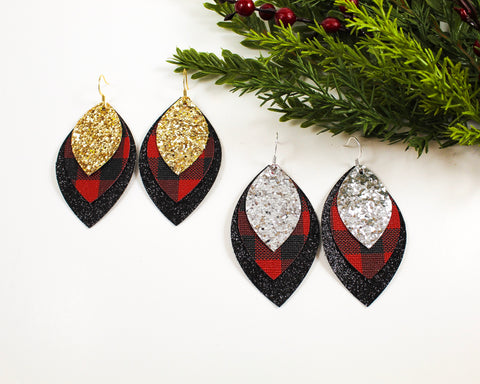 Layered Glitter, Red Plaid & Black Shimmer Earrings