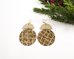 Gold Glitter Geo Disc Earrings