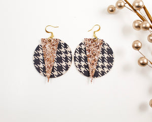 Black Tweed Print and Rose Gold Glitter Disc Earrings
