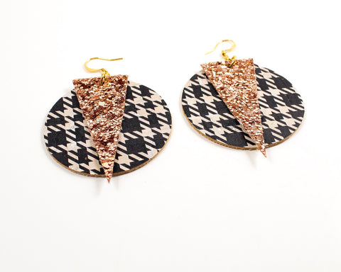 Black Hounds Tooth Print and Rose Gold Glitter Disc Earrings