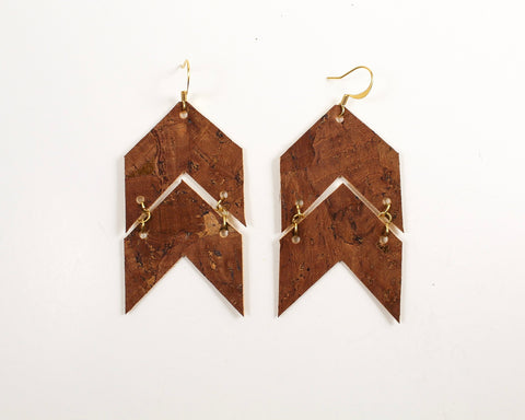 Cedar Brown Cork Arrows Earrings