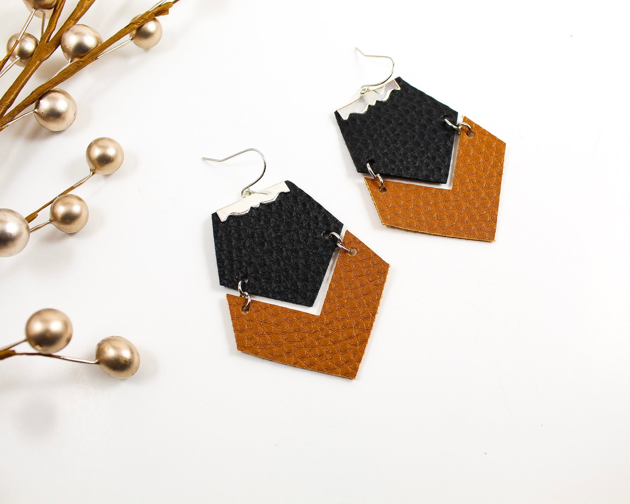 Black & Camel Brown Geo Earrings