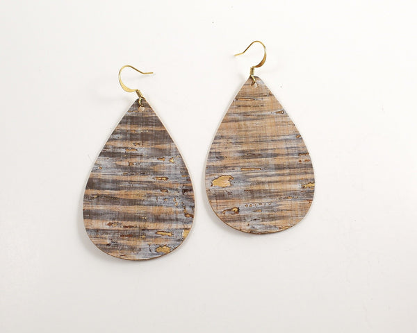Golden Pier Cork Teardrop Earrings