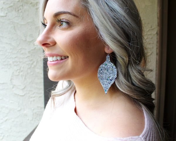 Holiday Formal White Glitter Ornament Earrings