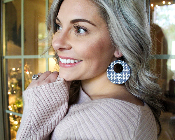 Black and White Tweed Cork Open Disc Earrings