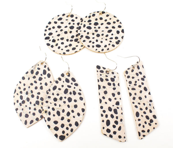 Spotted Dalmatian Print Cork Earrings