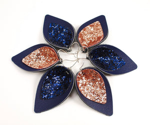 Navy Petals w/ Rose Gold or Navy Glitter