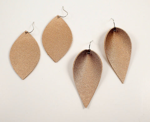 Dark Golden Shimmer Leaf & Feather Earrings
