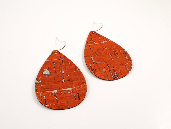 Burnt Orange Cork Teardrop earrings with Silver Flecks
