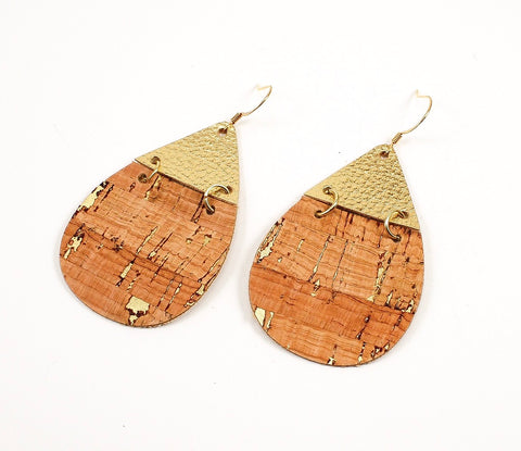 2-Toned Cork & Metallic Gold Teardrop Earrings