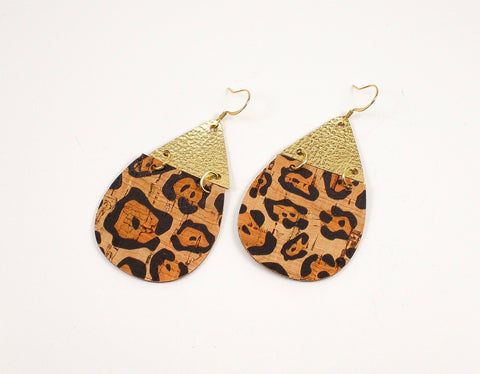 2-Toned Leopard Cork & Metallic Gold Teardrop Earrings