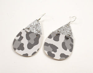 2-Toned Grey & White Leopard w/ Metallic Silver Top Teardrop Earrings