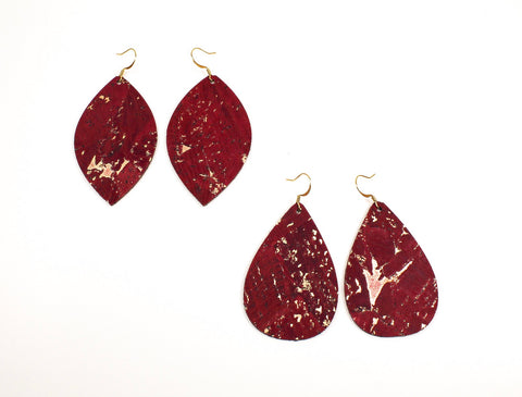 Red Wine Cork Teardrop or Leaf Earrings with Gold Flecks