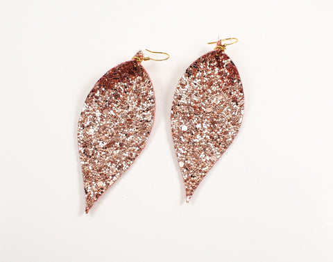 Rose Gold Glitter Pinched Feather Earrings