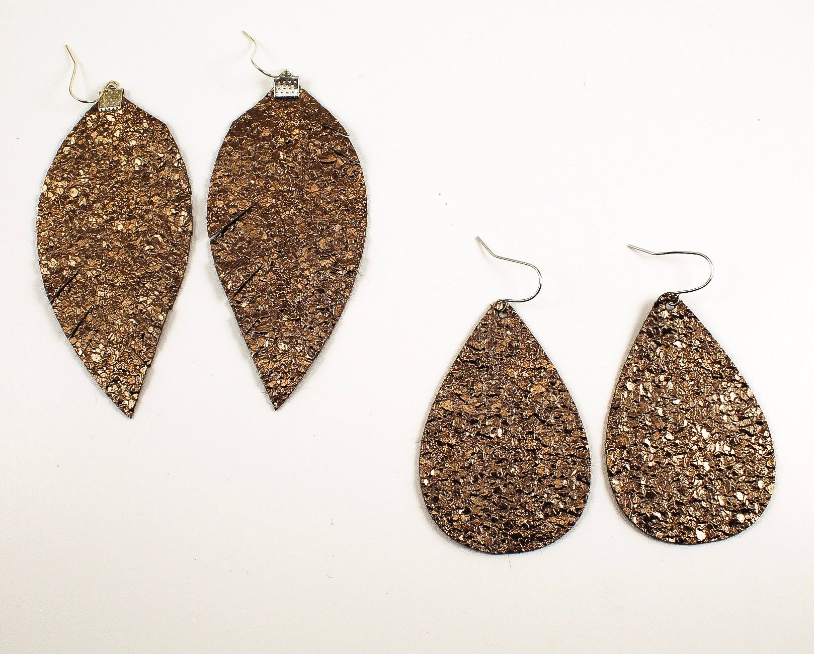 Metallic Brown Mocha Feather & Teardrop Earrings