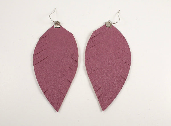 Mauve Fringe Feather Earrings