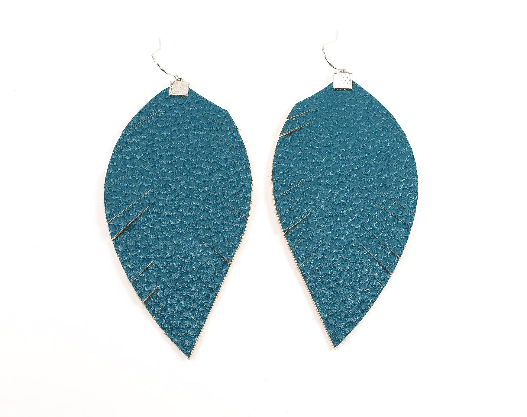 Deep Teal Fringe Feather Earrings