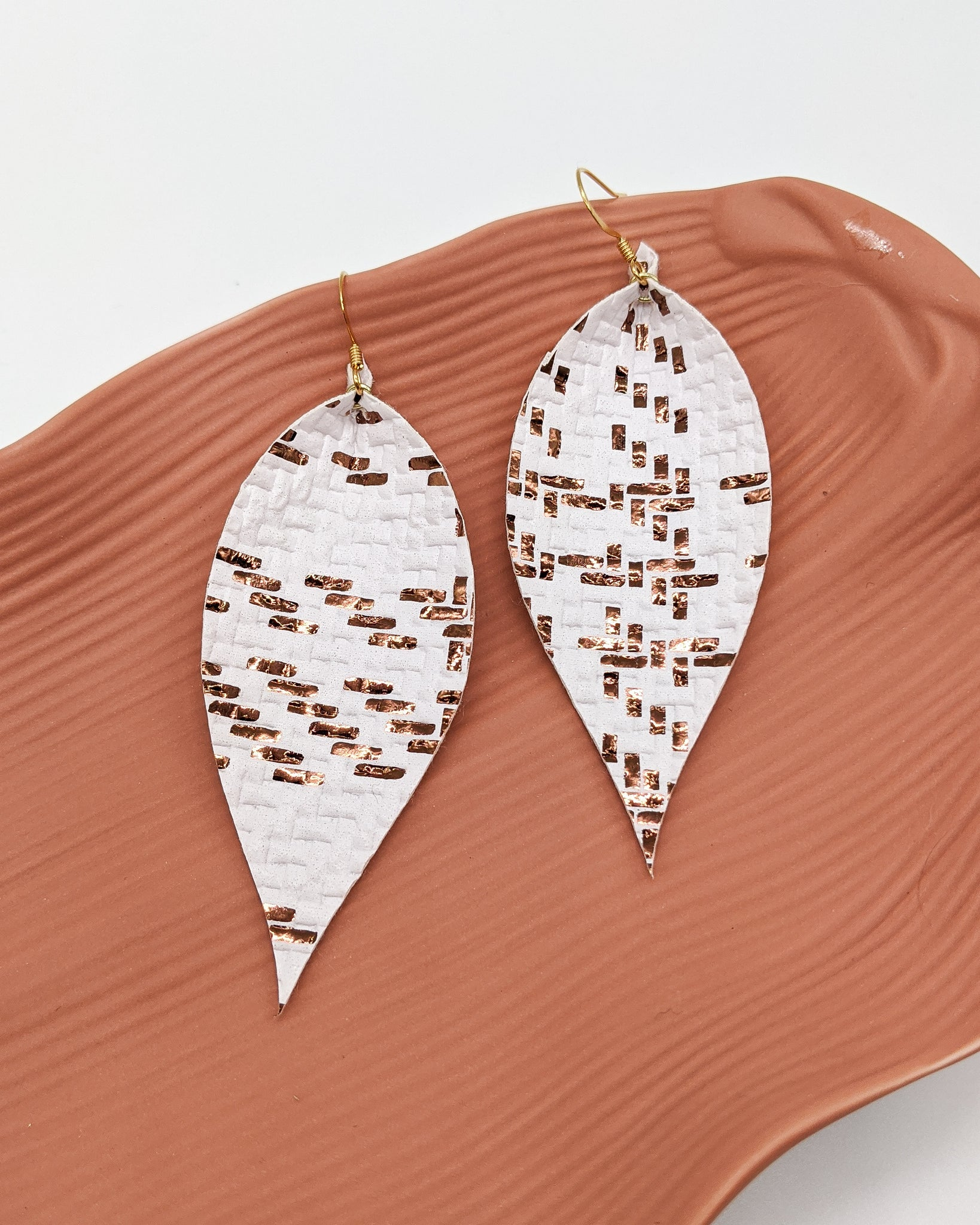 White with Bronze Foil Basket Weave Pinched Feather Earrings