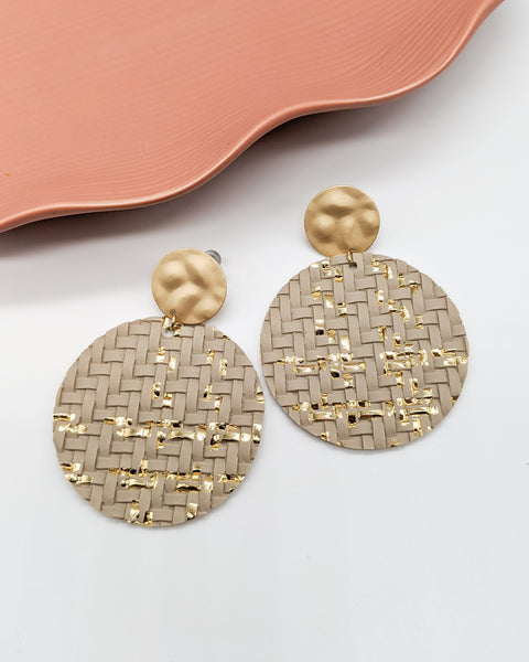 Taupe & Gold Foil Basket Weave Disc Earrings