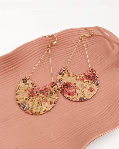 Pink Floral Cork Triangle Drop Earrings