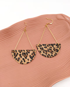 Baby Cheetah Print Cork Traingle Drop Earrings