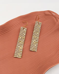 Taupe & Gold Basket Weave Bar Earrings