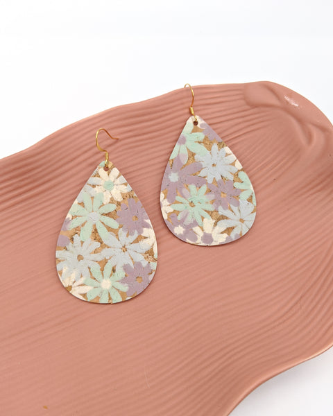 Pastel Purple & Mint Green Floral Cork Teardrop Earrings