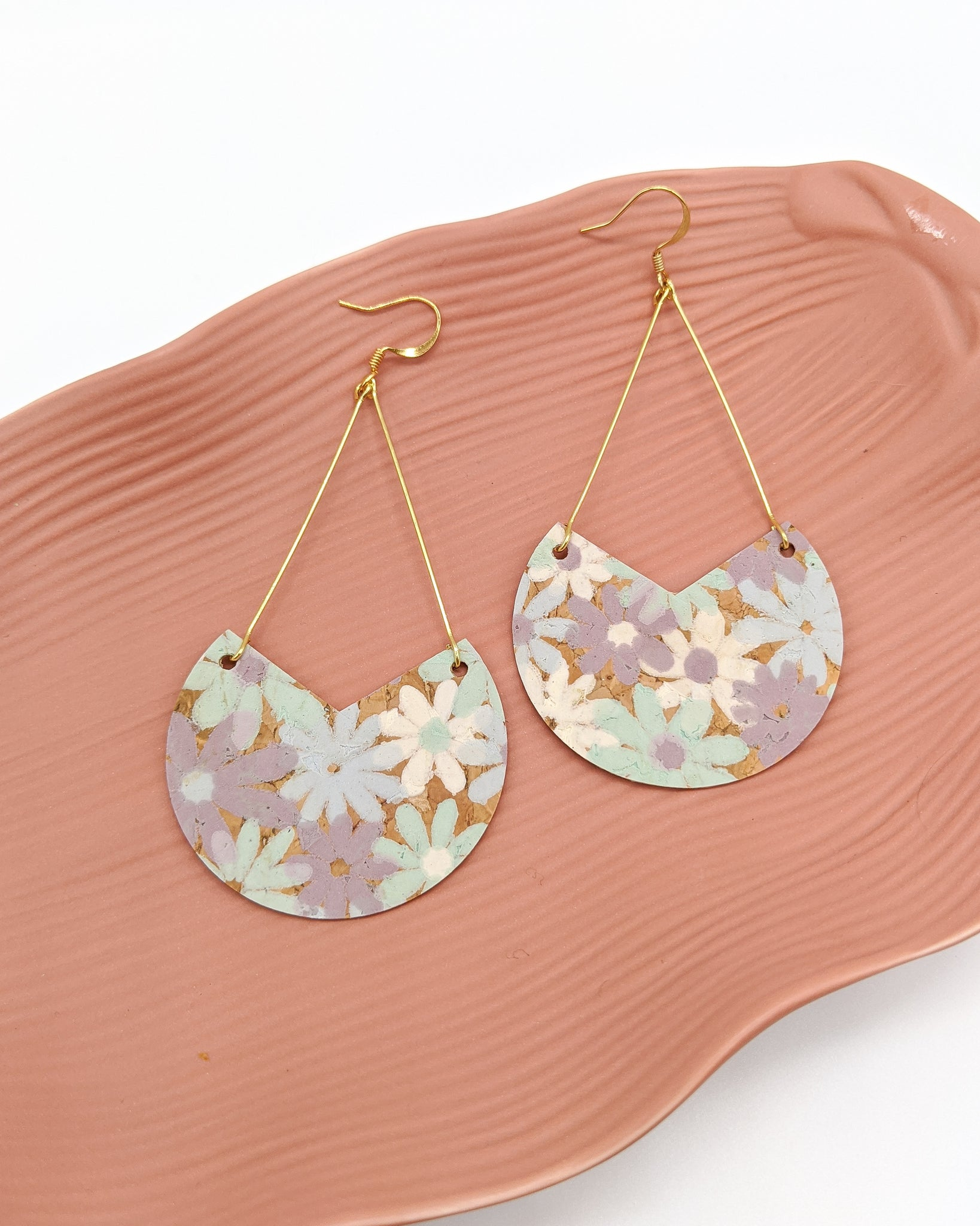 Pastel Floral Cork Triangle Drop Earrings