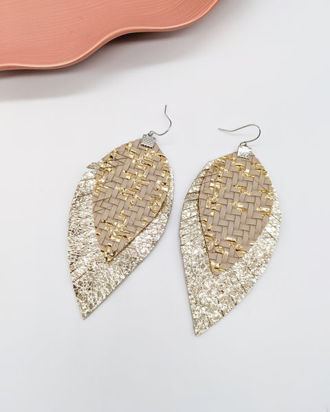 Gold & Taupe Basket Weave Fringe Feather Earrings