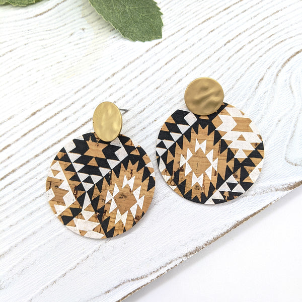 Black and White Aztec Cork Disc Earrings on Posts