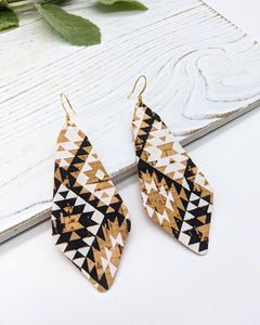 Black and White Aztec Long Diamond Cork Earrings