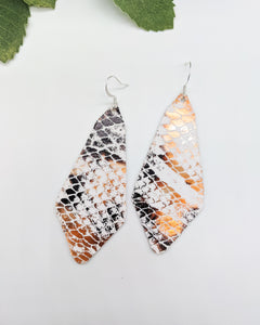 White and Bronze Snakeskin Long Diamond Earrings