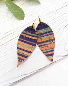 Sunset Blue Stripe Pinched Feather Earrings
