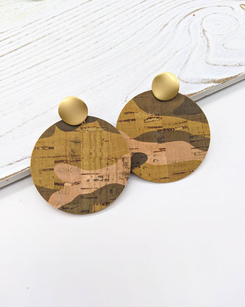 Camo Print Cork Disc Earrings on Matte Gold Posts