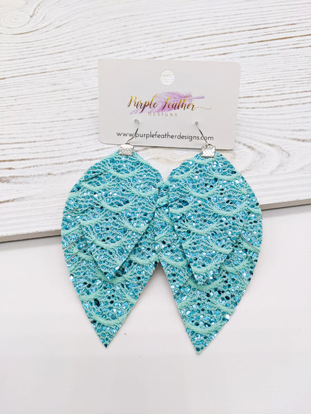 Aqua Blue Lace Glitter Fringe Feathers Earrings