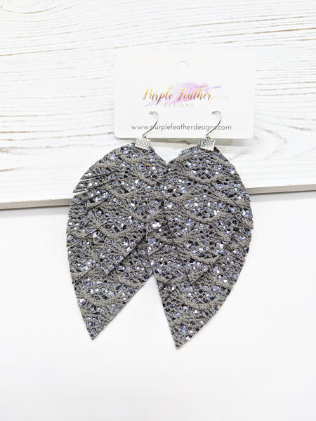 Silver Lace Glitter Fringe Feather Earrings