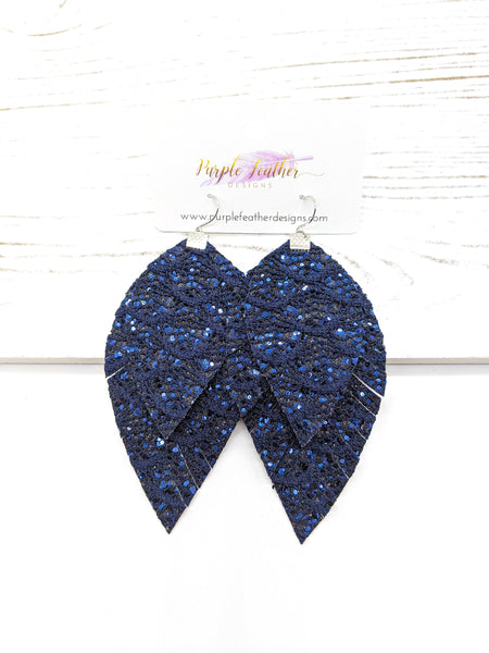 Navy Blue Lace Glitter Fringe Feather Earrrings