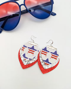 3 Layer Flag Star, Silver Glitter, & Metallic Red Earrings