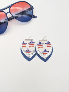 3 Layer Flag Star, Glitter & Blue Earrings