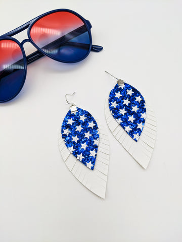 Blue Stars and White Fringe Feather Earrings