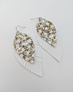 Gold & White Star Fringe Feather Earrings