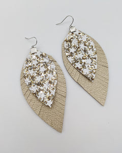 Gold Stars Fringe Feather Earrings
