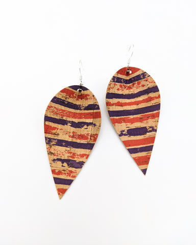 Red & Navy Stripe Cork Pinched Feather Earrings
