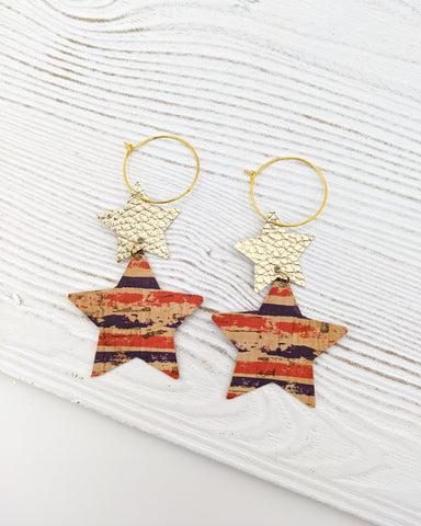 Striped Cork & Gold Star Stack Earrings